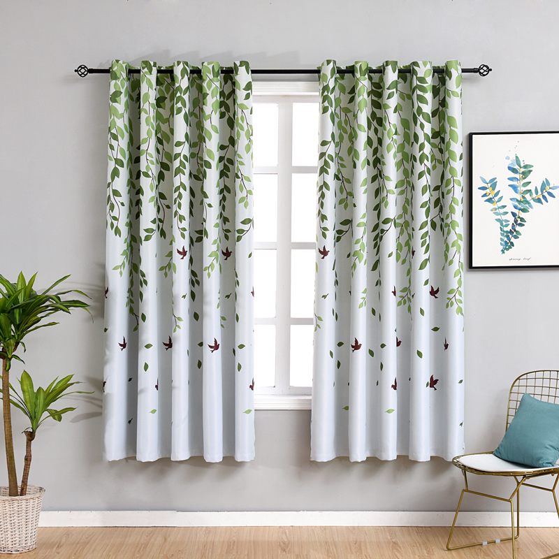 Short Curtains for Kitchen Pastoral Plant Bedroom Decorations Window  Curtain Living Room Green Drapes