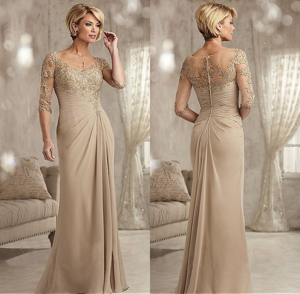 Beaded Lace Champagne Mother of The Bride Dresses Plus ...