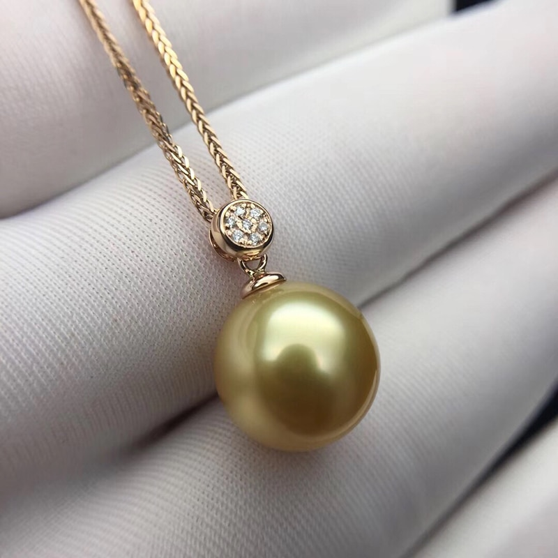 Real Diamond Southsea Golden Pearl Pendant 18k Gold Necklace Choker Include Au750 Gold Chains For Women Mum Girls Gift Inoava Com