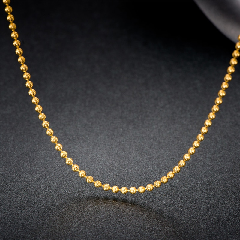 18k Pure Gold Beads Necklace Rose White Yellow Chain Real Au750 Solid Party Ball Women Inoava Com