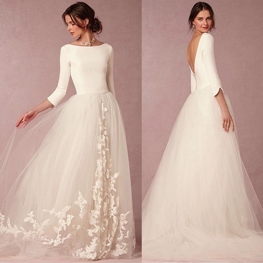 Elegant Spandex And Tulle Bateau Neckline A Line Wedding Dresses With Lace Appliques Three Quarter Sleeves Bridal Dresse