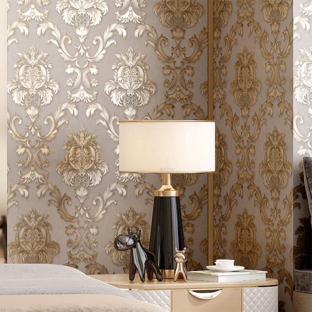 Beige Grey Gold Textured Luxury Classic 3d Damask Wallpaper Bedroom Living Room Home Decor Waterproof Vinyl Pvc Wall Paper Roll