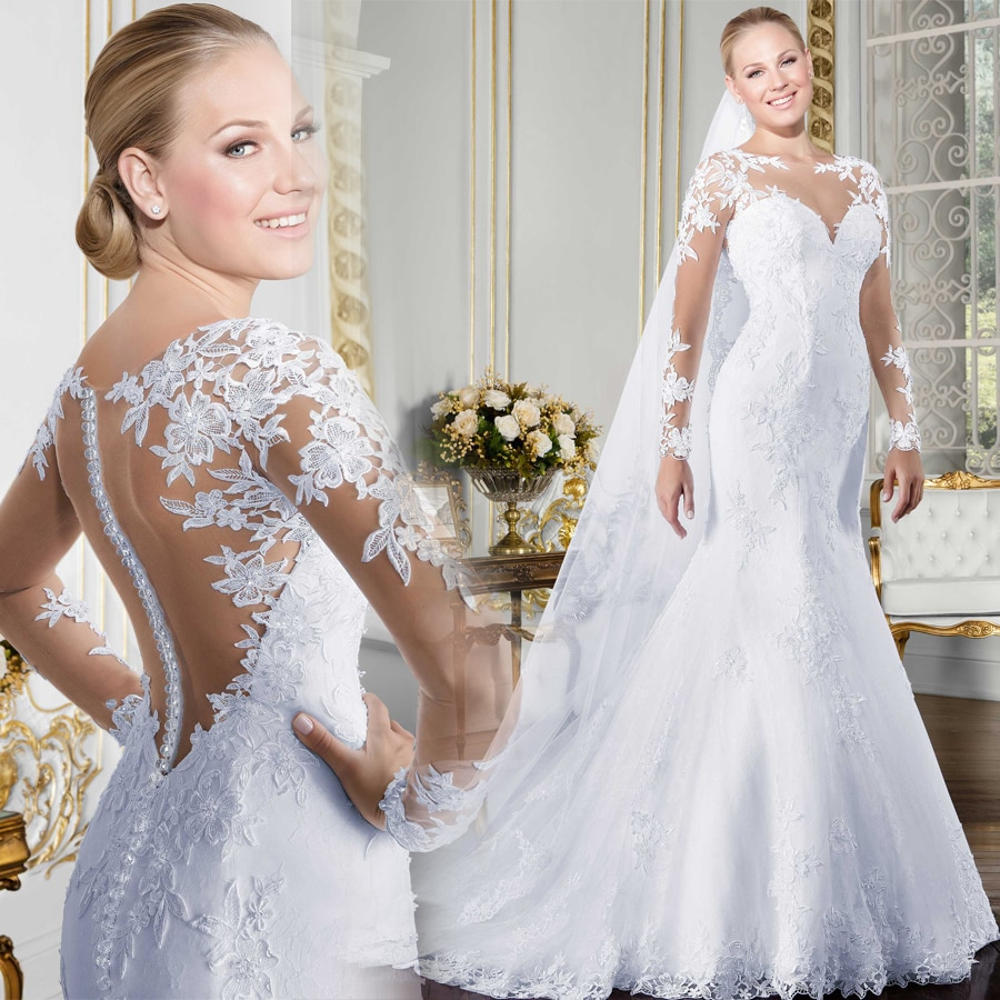 O Neck Long Sleeve Mermaid Wedding Dress See Through Illusion Back White Bridal Gowns With Lace Appliques Inoava Com