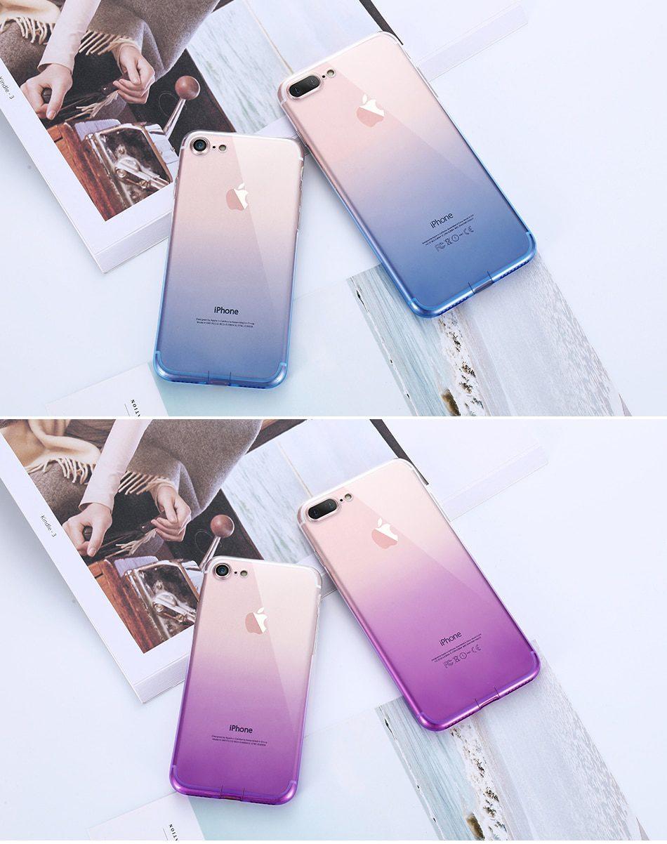 Transparent Gradient Design Phone Case for iPhone