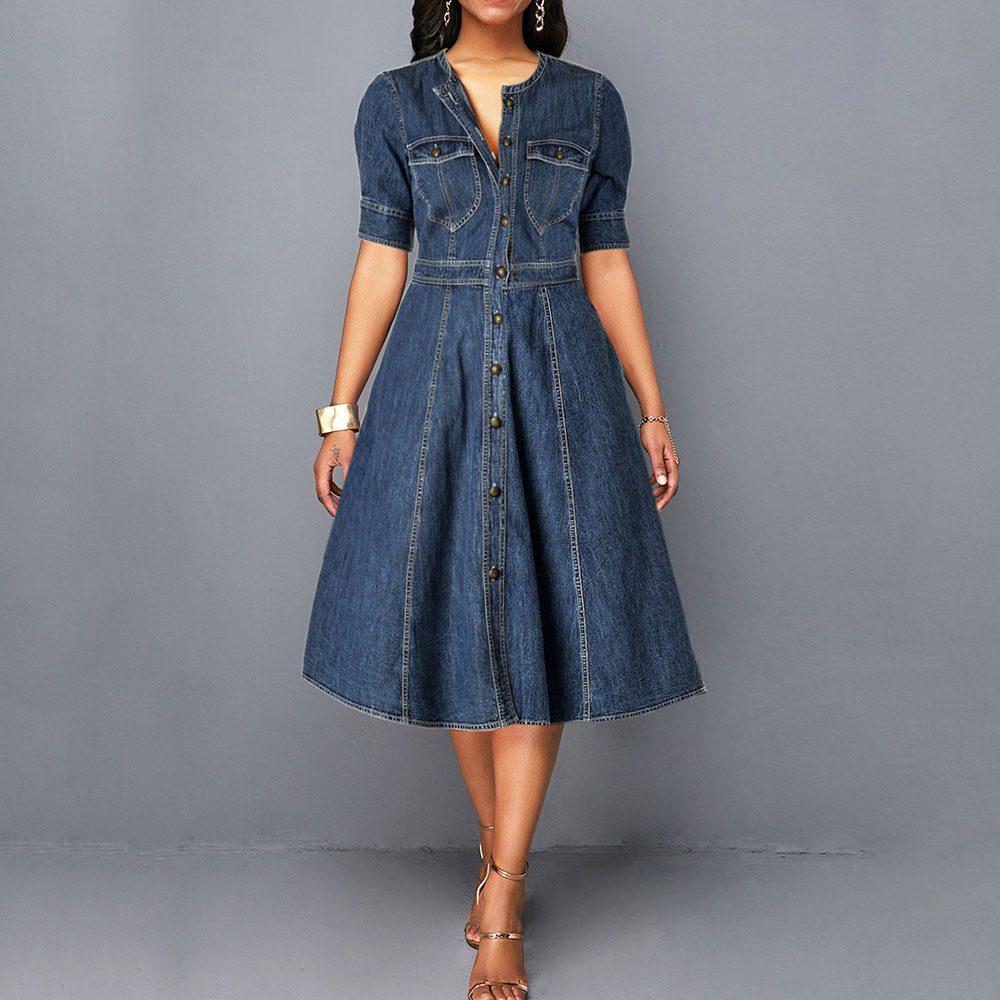 Ladies jeans Dress Spring Autumn Women long sleeve Slim O neck Half Sleeve  Denim Dress Female Bow Midi Dress plus size 2XL