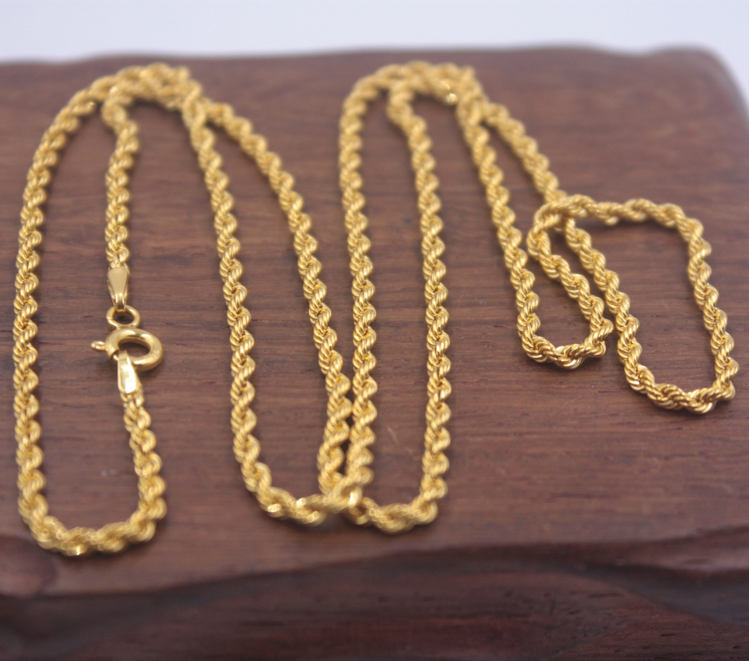 Pure 18k Yellow Gold Chain 2mmw Rope Women S Link Wealthy Gift Best Women Necklace Chain Inoava Com