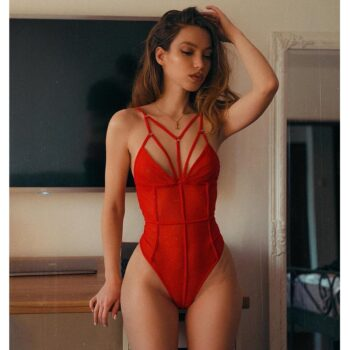 Sexy One Piece Swimsuit For Women Red Hot Swimwear Bandage Strappy