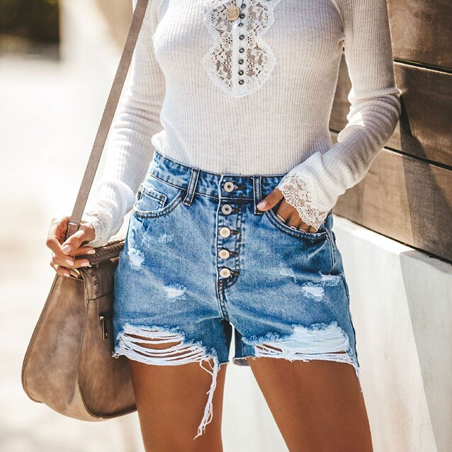 Women Summer High Waisted Denim Shorts Jeans Women Push Up Skinny Denim ShortsX