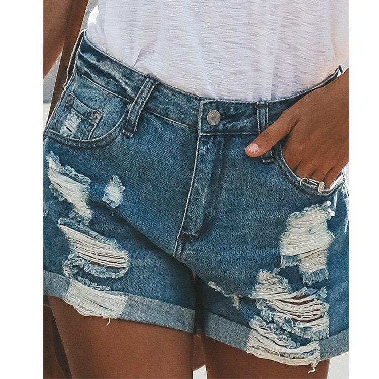 Women Casual Denim Shorts Shredded Jeans Woman Summer Short Pants Plus Size Slim Pantalones Cortos De Mezclilla Moda Mujer Inoava Com