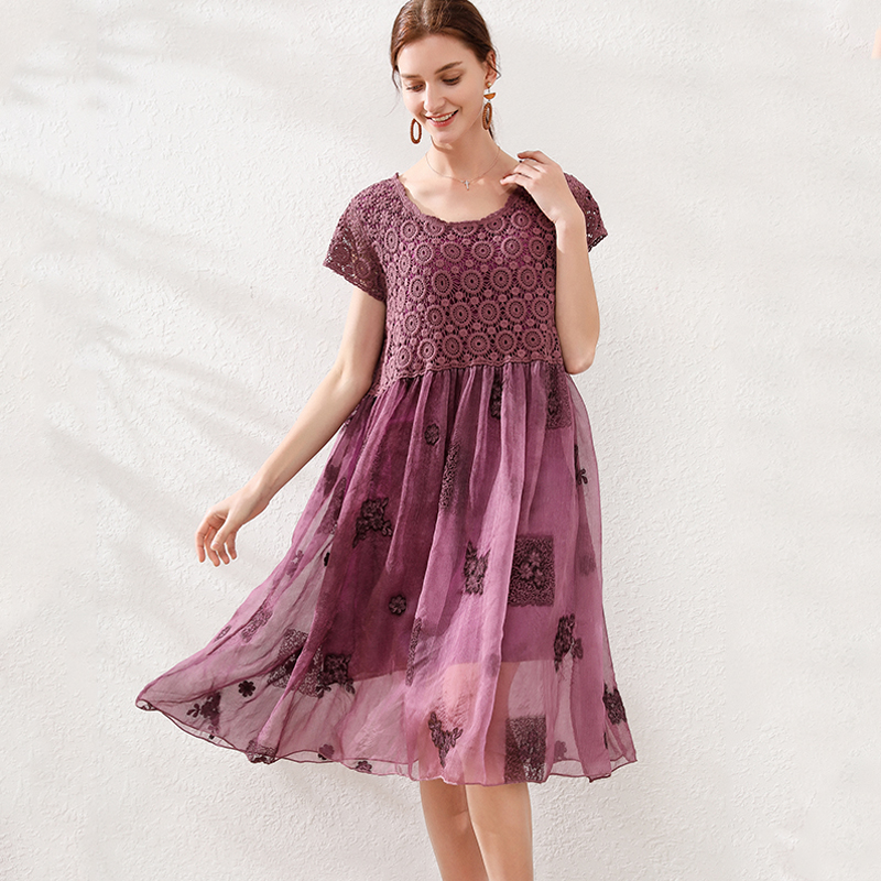 Summer Ladies Plus Size Loose Fit Embroidery Dress Crochet Elegant Cute Flare Dress Chiffon Midi Beach Dress Vestidos 4xl Inoava Com