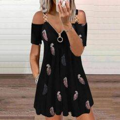 Summer New Sexy Dress Women Casual Zipper Printing V-Neck Strapless Sexy Sling Short Dress Plus Size Casual Loose Dress Autumn Beach Casual Dresses Elegant Dresses Evening Floral Mini Party Print Dresses Sexy Sleeveless Slim V Neck Women cb5feb1b7314637725a2e7: Black|Pink|White