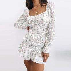 Summer Women Fashion Long Sleeve Floral Dress Stylish Square Collar Backless Dress for Ladies Autumn Casual Dresses Elegant Dresses Evening Long Sleeve Mini Party Polka Dot Sexy Spring Summer U Neck Dress Women cb5feb1b7314637725a2e7: White