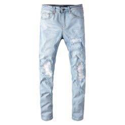 Men's pale light blue white pleated patchwork jeans Fashion slim skinny holes ripped stretch denim pants Biker Jeans Bottom Casual Jeans Classic Jeans Denim Jeans Men Ripped Jeans Skinny Jeans Slim Jeans Snow Washed Jeans Straight Jeans Streetwear Jeans Stretch Jeans cb5feb1b7314637725a2e7: Sky blue