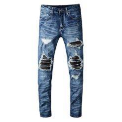 Men's PU leather patchwork ripped biker jeans Patch slim skinny stretch denim pants Biker Jeans Bottom Casual Jeans Classic Jeans Denim Jeans Men Ripped Jeans Skinny Jeans Slim Jeans Snow Washed Jeans Straight Jeans Streetwear Jeans Stretch Jeans cb5feb1b7314637725a2e7: Blue