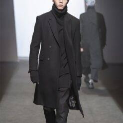 Men's woolen coat trench coat winter long suit collar double breasted European and American solid color woolen coat Double Breasted Coat Men Men Wool Coat Outwear & Jackets cb5feb1b7314637725a2e7: Black|Blue