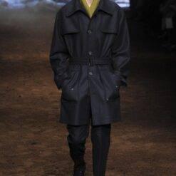 Men's woolen coat mid-length custom thick solid color lace-up single-breasted casual woolen coat Men Men Wool Coat Outwear & Jackets Sinple Breasted Coat cb5feb1b7314637725a2e7: Black|Blue