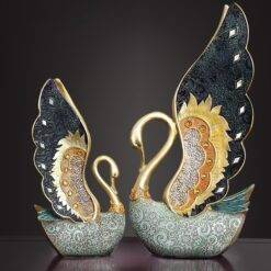 Statues and Sculptures Swan Love Retro TV Cabinet Sculpture Hand Drawn Modern Colorful Inlaid Gems Figurines for Interior Home Garden & Appliance cb5feb1b7314637725a2e7: A|B|C|D