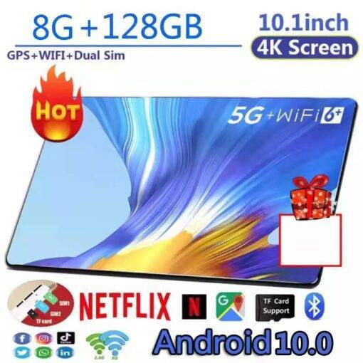 New Tab 10 Inch 4G Phone Call Tablet PC Dual SIM Card 10Core 8GB/128GB 5.0MP 1280*800 IPS Tablet 10.1 Tablet Android pc gamer Computer, Office, Security cb5feb1b7314637725a2e7: bag do not order|Black|Golden|Red|White