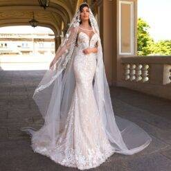 Sexy Mermaid Wedding Dresses Illusion O Neck Off Shoulder Sparkly Appliqued Veil 2021 New Arrival Floor Length Bridal Gown Women cb5feb1b7314637725a2e7: Ivory White