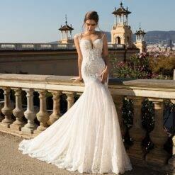 2021 Tulle Wedding Dress O Neck Off Shoulder Mermaid Zipper Appliqued Lace Bridal Gowns Made robe de mariage Graceful Women cb5feb1b7314637725a2e7: Ivory White