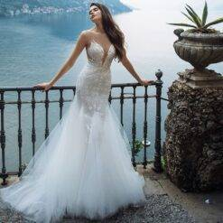 Sexy Mermaid Weddding Dresses Illusion O Neck Off Shoulder Fashion Appliqued Button Floor Length 2020 Bridal Gowns Women cb5feb1b7314637725a2e7: Ivory White