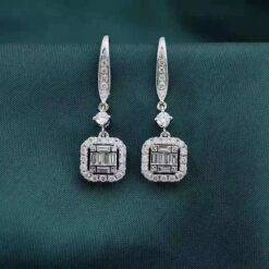 18K White Gold Real Diamond Pendant Au750 Earrings Women's Engagement Gift Fine Jewelry Jewelry and Watches 8703dcb1fe25ce56b571b2: White Gold