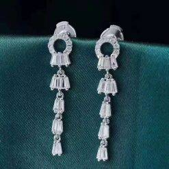 Luxury 18K White Gold Diamond Drop Earring For Women Engagement Wedding Gift Au750 Fine Jewelry Jewelry and Watches 8d255f28538fbae46aeae7: White Gold