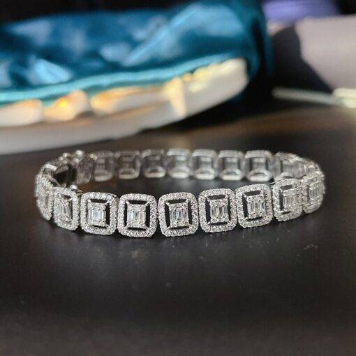 Aazuo Real 18K White Gold Real Diamond 5.0ct Fashion Trapezium Bracelet For Woman Upscale Trendy Wedding Engagement Party Jewelry and Watches Brand Name: Aazuo