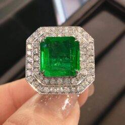 4.9 Carat Natural Zambian Emerald Wedding Anniversary Ring Nautral Diamond Ring 14k White Gold Gift for Women Jewelry and Watches 2ced06a52b7c24e002d45d: 4|4.5|5|5.5|6|6.5|7|7.5|8|8.5|9|9.5