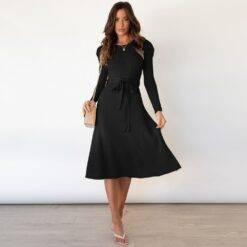 O Neck Puff Sleeve High Waist Knitted Dress Women Elegant Bandage Slim A-line Midi Dress Office Lady Vintage Solid Basic Autumn Dresses Women cb5feb1b7314637725a2e7: as picture Black Gray Green Khaki