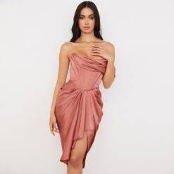 Women Dresses Summer 2021 Pink Party Dress House of Cb Dress Satin Bodyocn Dress Draped Sexy Celebrity Evening Club Dress Dresses Women cb5feb1b7314637725a2e7: chest double layer