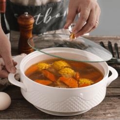 Creative Nordic Ceramic Handle Salad Fruit Soup Bowl With Lid Anti-scalding Noodle Rice Food Pot Dessert Breakfast Oat Ceramic Soup Bowl Dining & Entertaining Home & Garden Home Garden & Appliance Kitchen, Dining & Bar Soup Bowls