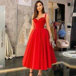 2021 On Sale Charming Red Sleeveless Prom Party Dresses Sweetheart with Straps Appliqued Wedding Guest Gowns Tea Length Pleated Dresses Women cb5feb1b7314637725a2e7: Black|Blue|Champagne|Gold|Gray|Green|Ivory|Orange|Photo color|Pink|Purple|Silver|White|Yellow