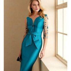 Mother Of The Bride Dresses V Neck Appliqued 3/4 Long Sleeves Wedding Guest Gown Sash Ruffle Knee Length Back Split Mother Gown Dresses Women cb5feb1b7314637725a2e7: Black|Blue|brown|Gold|Gray|Green|Pink|Purple|Red|same as picture|White|Yellow