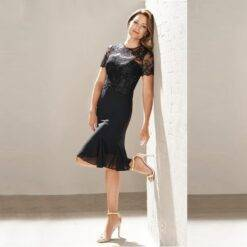 Latest Charming Short Black Lace Jewel Neck Mother of the Bride Dresses Short Sleeves Wedding Guest Gowns Knee Length 2021 New Weddings & Events Weddings Dresses Women cb5feb1b7314637725a2e7: Black|Blue|Champagne|Gold|Gray|Green|Ivory|Pink|Purple|Red|Silver|White|Yellow