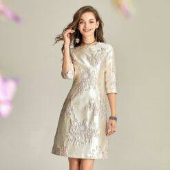 Champagne Pink Short Mother Of The Bridegroom Dresses Embroidery Wedding Guests Ceremony Evening Prom Mother Gowns Half Sleeves Weddings & Events Weddings Dresses Women cb5feb1b7314637725a2e7: Beige