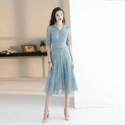 Gray Haze Blue Mother of the Bride Dresses High-end Lace Tea-Length Waist Half Sleeve Daily Commute Wedding Formal Evening Gowns Dresses Women cb5feb1b7314637725a2e7: Gray haze blue