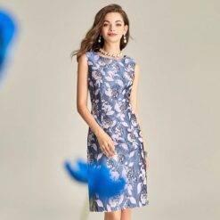 Summer Fashion Mother of the Bride Elegant Blue Sleeveless Jacquard Floral Work O-Neck Knee-Length Female High Wais Casual Gowns Dresses Women cb5feb1b7314637725a2e7: Blue