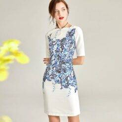 White Satin Mother of the Bride Dresses Half Sleeves Knee Floral Print Elegant Vacation Daily Formal Prom Gowns For Wedding New Dresses Women cb5feb1b7314637725a2e7: White