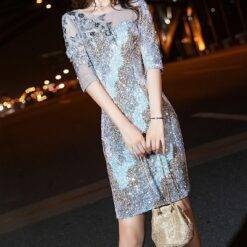 Sequined Mermaid Mother of the Bride Dress Half Sleeves Appliques Beading Knee Length Commute Wedding Party Formal Evening Gowns Dresses Women cb5feb1b7314637725a2e7: Photo color