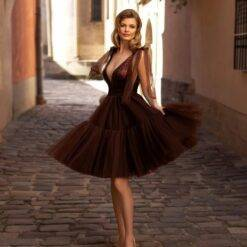 2021 Latest Lovely Short Chocolate Prom Party Dresses Sequin Bodice Plunge V Neckline Knee Length Wedding Guest Gowns Back Out Dresses Women cb5feb1b7314637725a2e7: Black|Blue|Champagne|Gold|Gray|Green|Ivory|Orange|Photo color|Pink|Purple|Red|Silver|White|Yellow