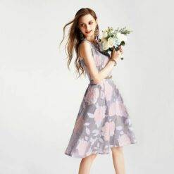 Gray Pink Mother Of The Bride Dresses Elegant Jacquard O-Neck Slim Knee-Length A-Line Formal Daily Banquet Party Evening Gowns Dresses Women cb5feb1b7314637725a2e7: Gray Pink