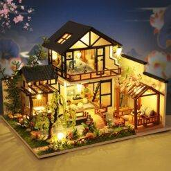 New DIY Chinese Style Cottage Wooden Doll House Kit Miniature with Furniture Casa Dollhouse Toys for Children Adults Xmas Gifts Craft & Arts Supplies cb5feb1b7314637725a2e7: A only dollhouse|A with dust cover|B only dollhouse|B with dust cover
