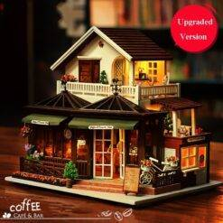 Large Coffee Wooden Doll House Manual Assembling Model Toys Diy Wooden Hut House With Led Light Music Small Tools Birthday Gift Craft & Arts Supplies cb5feb1b7314637725a2e7: No Dust Cover|No Dust Cover|With Dust Cover|With Dust Cover