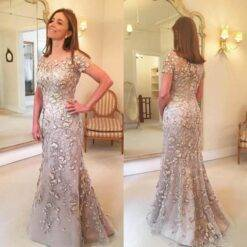 2021 Latest Arrival Applique Floral Mother of the Bride Dresses Elegant Groom God mother Mermaid Evening Dress For Wedding Party Dresses Women cb5feb1b7314637725a2e7: Ivory|Photo color|White