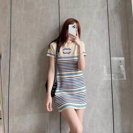 Ice silk 2021 summer new high-level feeling retro gentle style slim short sleeve knitted stripe dress Dresses Women cb5feb1b7314637725a2e7: Apricot