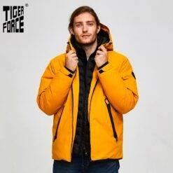 Tiger Force Oversize Men Winter Jacket Ski Sport Jacket For Men Waterproof Snow jacket Fake Two Hooded Jacket Male Thicken Coat Men cb5feb1b7314637725a2e7: Yellow