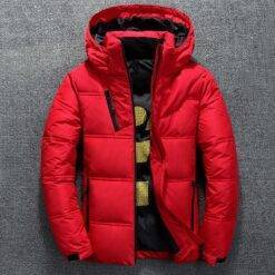 Winter Warm Men Jacket Coat Casual Autumn Stand Collar Puffer Thick Hat White Duck Parka Male Men's Winter Down Jacket With Hood Men cb5feb1b7314637725a2e7: Black Dark Grey Gray Red