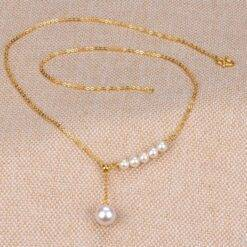 24k pure gold necklace 999 real gold pearl necklaces for women adjustable chain sweater chains 42cm Jewelry and Watches Brand Name: NoEnName_Null