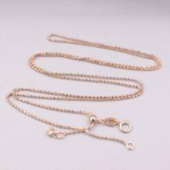 AU750 Pure 18K Rose Gold Necklace Width 1mm Carved Beads Link Chain Adjustable Necklace 3.4g / 24inch For Women Gift Jewelry and Watches 1ef722433d607dd9d2b8b7: China